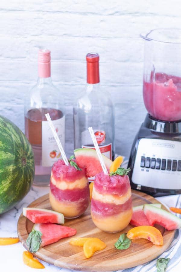 Wine Slushie Recipe! Easy Wine Slushie – How To Make Quick and Healthy Watermelon Peach Alcohol Wine Slushies - Red Wine - White Wine Frozen Slushie