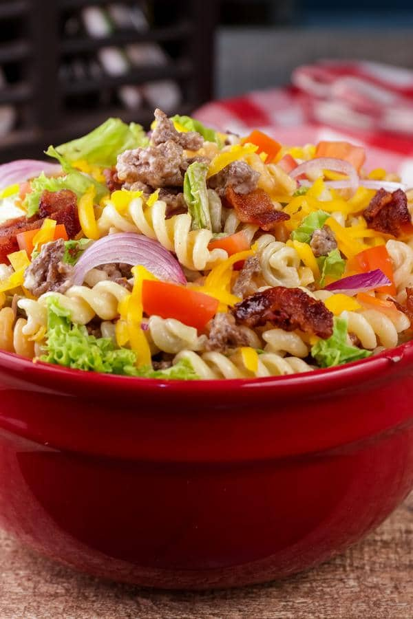 Easy Pasta Salad – Best Homemade Cheeseburger Pasta Salad Recipe – {Easy} Lunch – Dinner – Snacks – Side Dishes – Quick – Simple