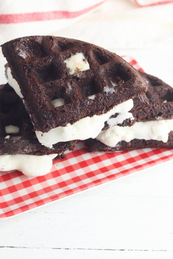 Easy Waffles – Best Homemade Chocolate Brownie Ice Cream Sandwich Waffle Recipe – {Easy} – Snacks – Desserts – Party Food - Quick – Simple