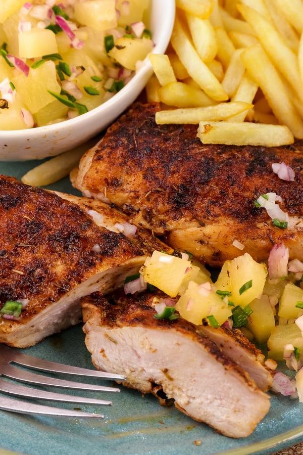 Grilled Chicken - Easy Grilled Cajun Chicken Recipe With Fruit Salsa - BEST Chicken Idea - DIY Grilling