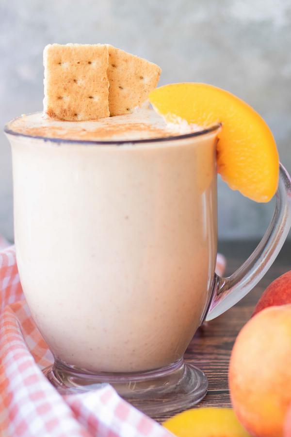 Smoothie – Best Homemade Peach Pie Smoothie Recipe – {Easy} Breakfast – Snacks – Desserts – Quick – Simple - Healthy