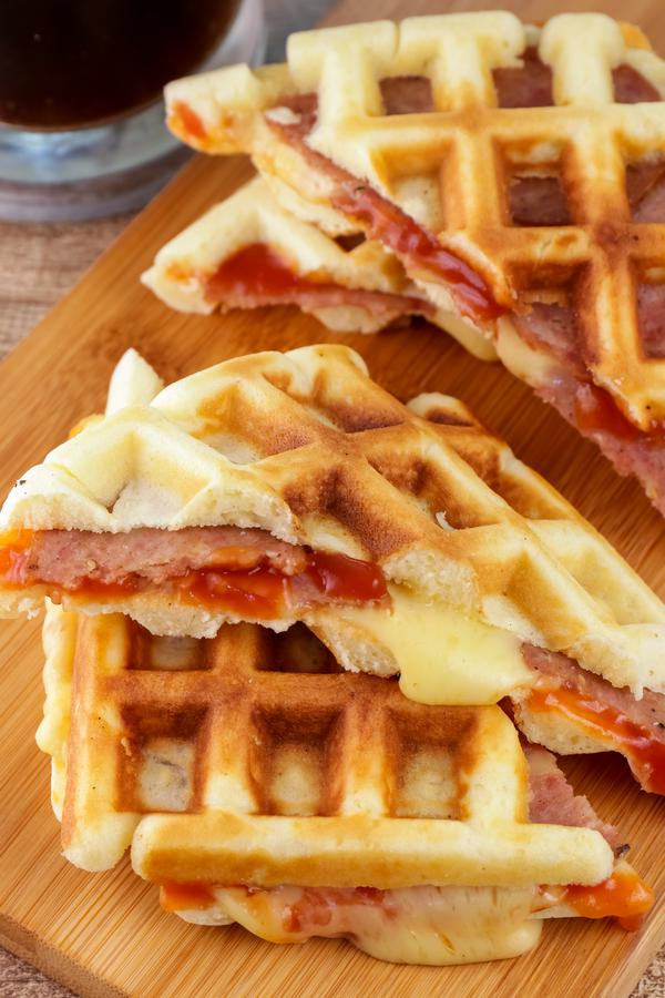 Homemade Stuffed Pizza Waffles