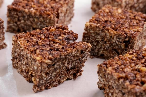 Gluten Free Chocolate Peanut Butter Rice Krispies Cereal Bars