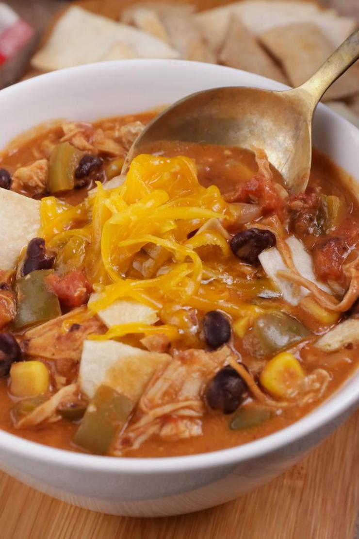 Easy Soup – Best Homemade Cheesy Southwestern Chicken Tortilla Soup Recipe