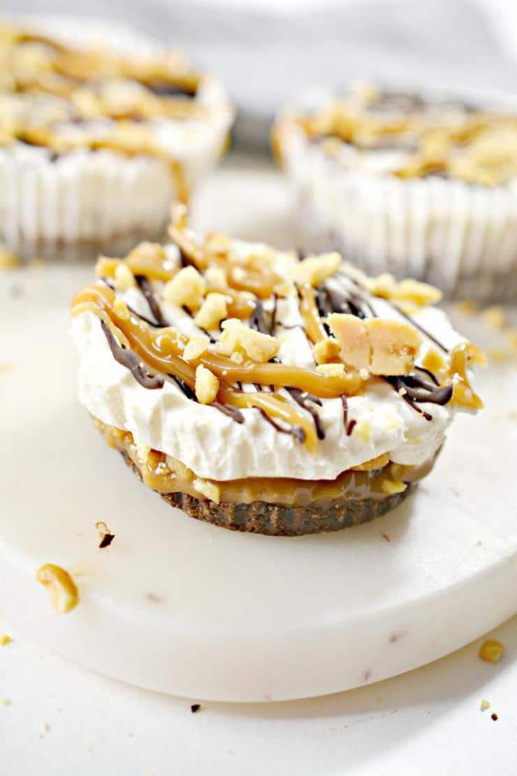 Keto Snickers Cheesecake Cups - Low Carb No Bake Cheesecake