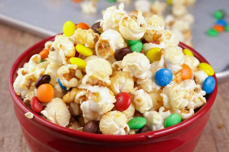 Caramel Popcorn – EASY – Quick – Simple M & M Candy Caramel Popcorn Recipe – BEST Homemade Microwave Popcorn – How To Make – Quick – Desserts – Snacks – Party Food