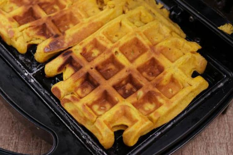 Pumpkin Waffles With Whipped Topping