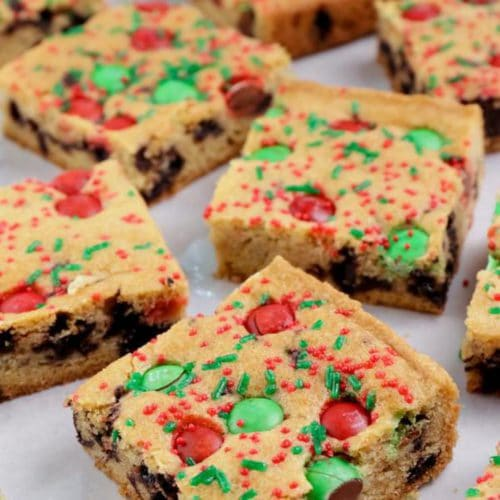 Easy Cookie Bars – Best Homemade Christmas Chocolate Chip M & M Candy Cookie Bar Recipe – Desserts – Snacks – Quick – Simple