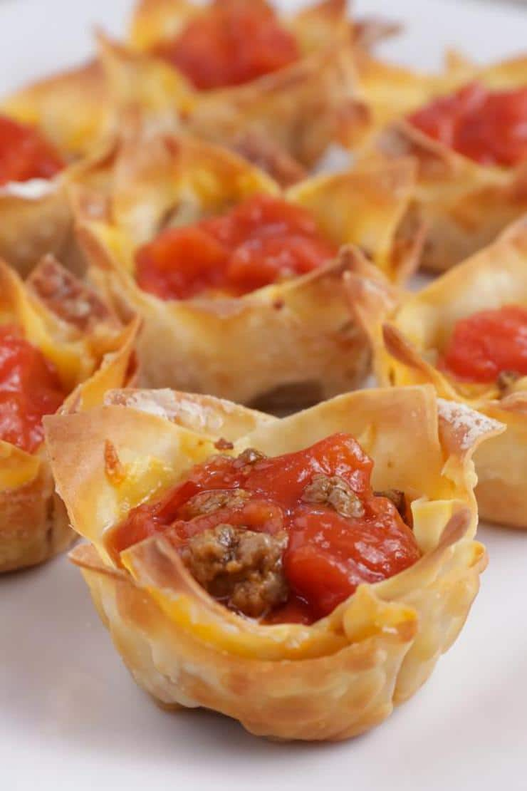 Easy Mini Wonton Taco Cups – Best Homemade Taco Recipe – Finger Food – Appetizers – Snacks – Party Food – Quick – Simple