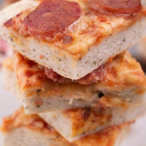 Easy Focaccia Bread Pizza – Best Homemade Pepperoni Pizza Recipe – Appetizers - Dinner – Lunch – Quick – Simple