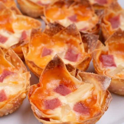 Easy Pizza Wonton Cups – Best Homemade Hawaiian Ham & Pineapple Wonton Pizza Recipe – Finger Food – Appetizers – Snacks – Party Food – Quick – Simple