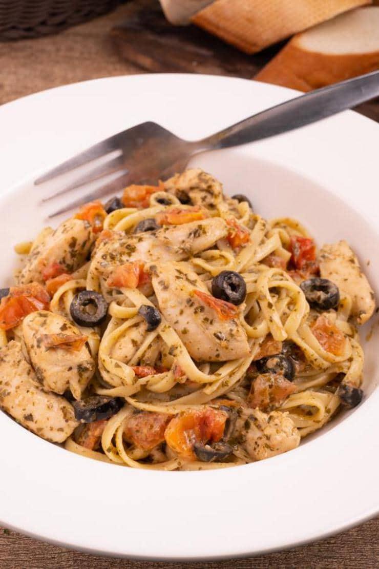 Easy Mediterranean Diet Pesto Chicken Pasta