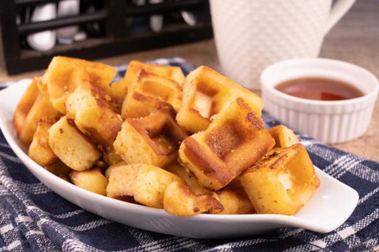 Easy Mini French Toast Waffle Stick Bites