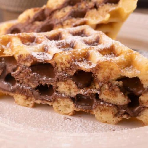 Easy Waffles – Best Homemade Stuffed Nutella Waffle Recipe – {Easy} Breakfast – Dinner – Snacks – Desserts – Quick – Simple