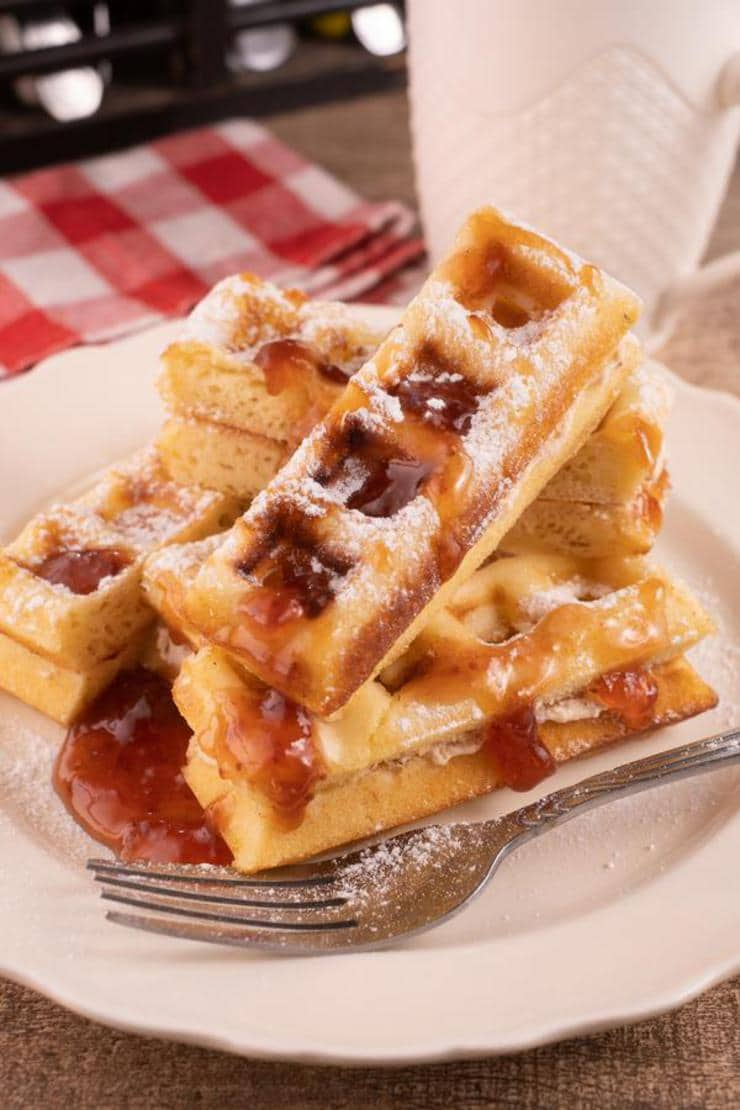 Easy Waffles – Best Homemade Strawberry Cream Cheese Stuffed Waffle Sticks Recipe – {Easy} Breakfast – Dinner – Snacks – Desserts – Quick – Simple