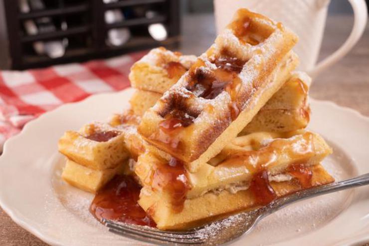 Easy Strawberry Cream Cheese Stuffed Waffle Sticks