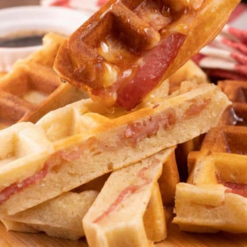 Easy Waffles – Best Homemade Stuffed Bacon Waffle Sticks Recipe – {Easy} Breakfast – Dinner – Snacks – Quick – Simples