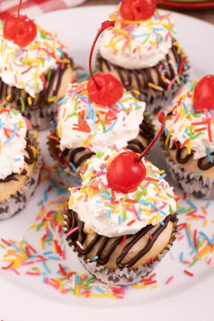 Easy Banana Split Cupcakes