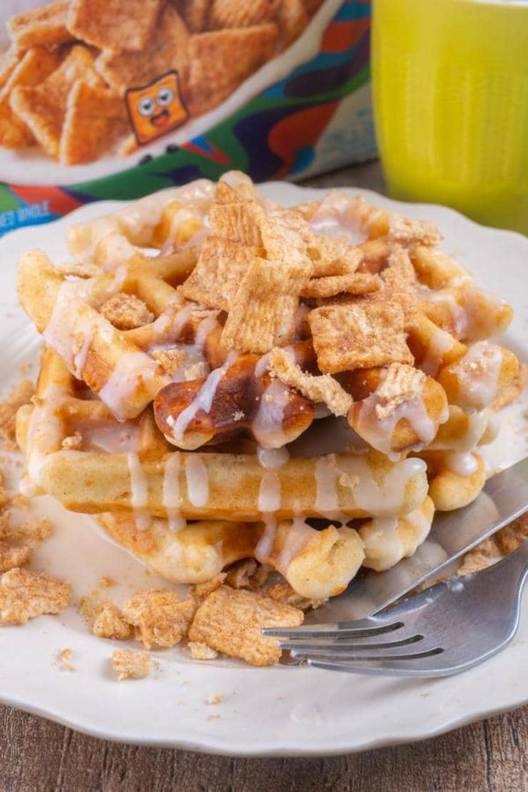 Easy Waffles – Best Homemade Cinnamon Toast Crunch Waffle Recipe – {Easy} Breakfast – Kids Party Food – Quick – Simple
