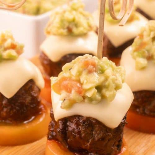 Easy Cheeseburger Bites – Best Homemade BBQ Mini Guacamole Burger Bites Recipe – Lunch – Dinner – Side Dish – Appetizers - Party Food