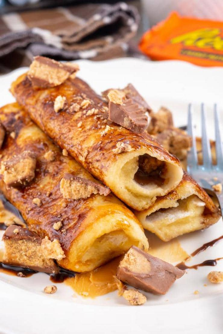 Best French Toast – Homemade Reese's Peanut Butter Cups French Toast Roll Ups Recipe – {Easy} Breakfast – Snacks - Desserts – Party Food – Quick – Simple