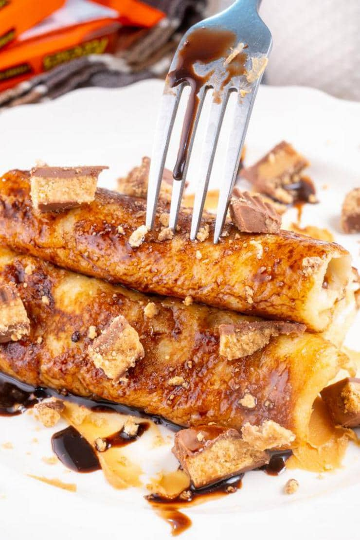 Easy Reeses Peanut Butter Cups French Toast Roll Ups
