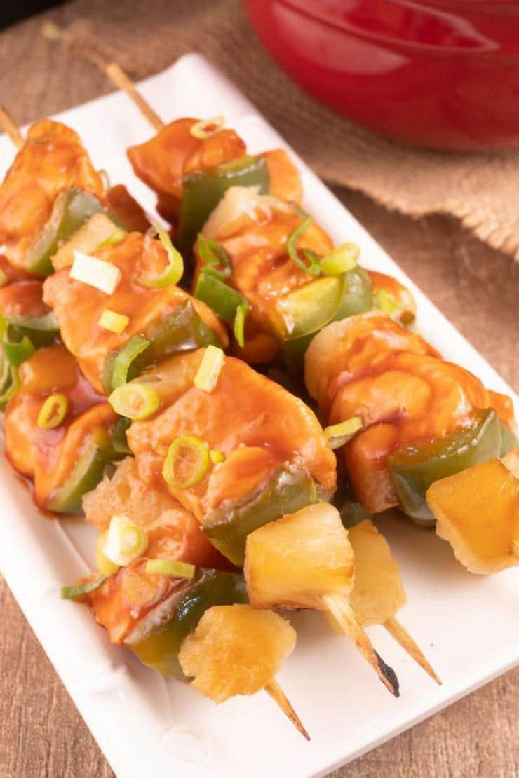 Easy Hawaiian Skewers – Best Homemade Sweet And Sour Chicken Hawaiian Skewers Recipe – Kabobs -Lunch – Dinner – Side Dish – Appetizers – Party Food
