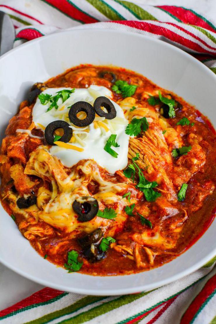 Best Crockpot Chicken Enchilada Casserole Recipe {Easy} Slow Cooker Dinner Idea